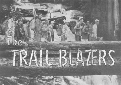 Black and white photo of Trail Blazers on old bridge